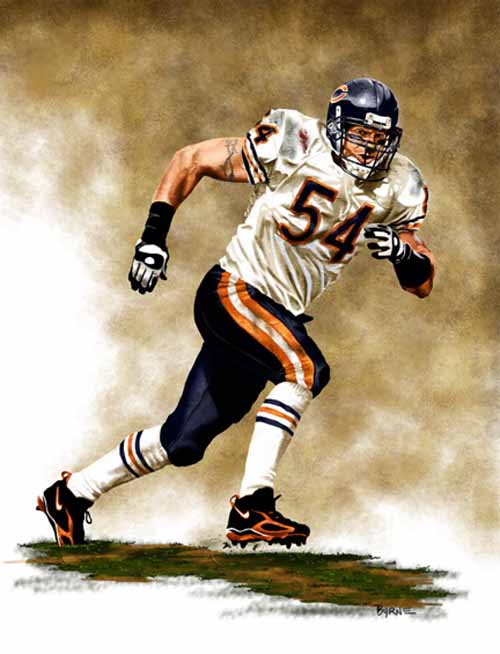 8 X 10 Brian Urlacher Chicago Bears Limited Edition Giclee Series #1