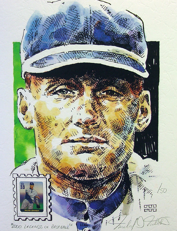 Walter Johnson Washington Senators Print with Legends of Baseball Stamp
