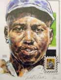 Josh Gibson Homestead Grays Print with Legends of Baseball Stamp