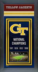 Framed Georgia Tech Yellow Jackets Championship Banner
