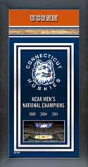 Framed Connecticut Huskies Championship Banner