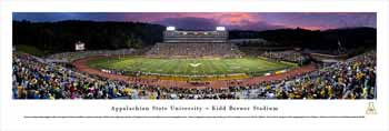 Appalachian State Mountaineers Panoramic - Kidd Brewer Stadium Picture - Twilight