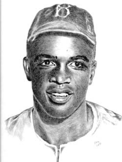 Jackie Robinson Brooklyn Dodgers Limited Edition Lithograph By Don Leo
