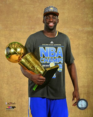 Draymond Green with the NBA Championship Trophy Game 6 of the 2015 NBA Finals Photo