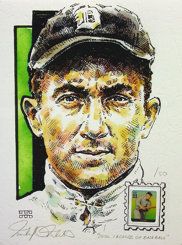 Ty Cobb Detroit Tigers Print with Legends of Baseball Stamp