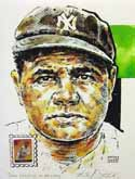 Babe Ruth New York Yankees Print with Legends of Baseball Stamp