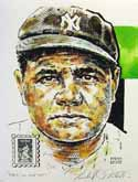 Babe Ruth New York Yankees Print with 50th Anniversary Stamp