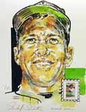 Mickey Mantle New York Yankees Print with Baseball Sluggers Stamp