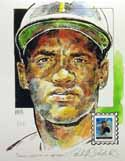 Roberto Clemente Pittsburgh Pirates Print with Legends of Baseball Stamp