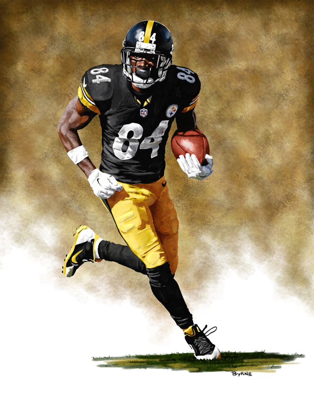8 X 10 Antonio Brown Pittsburgh Steelers Limited Edition Giclee Series #1