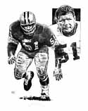 Jim Ringo Green Bay Packers Original Artwork By Michael Mellett