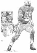 Joe Schmidt Detroit Lions Original Artwork By Michael Mellett