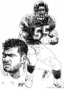 Junior Seau San Diego Chargers Original Artwork By Michael Mellett