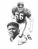 Lawrence Taylor LT New York Giants Original Artwork By Michael Mellett