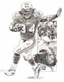 Ricky Williams Miami Dolphins Original Artwork By Michael Mellett
